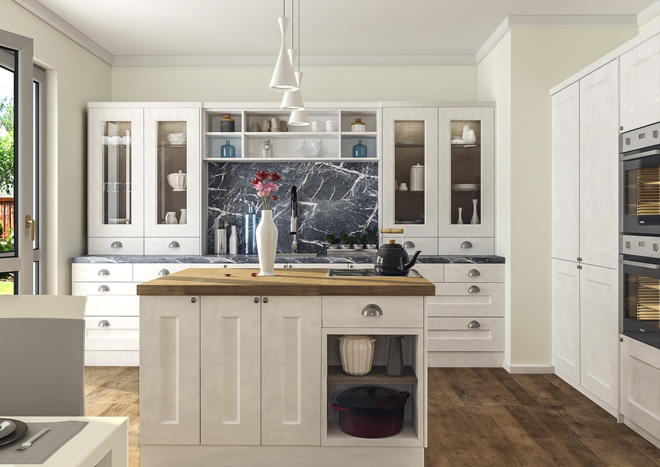 Cambridge Super White Ash Kitchen Doors   Made to Measure from £3.29