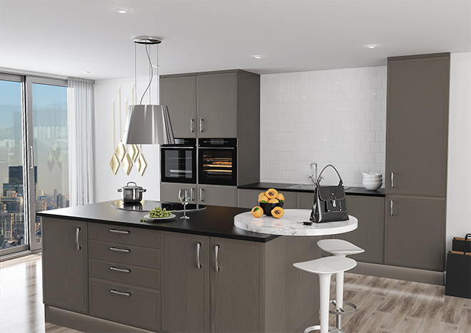 Euroline Opengrain Dark Grey Kitchen Doors