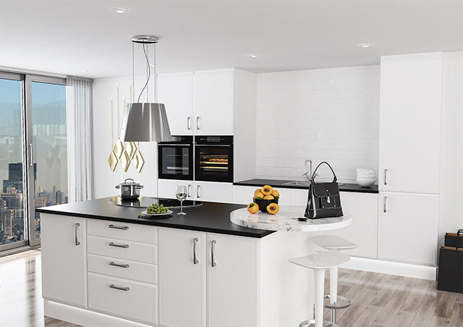 Euroline Satin White Kitchen Doors