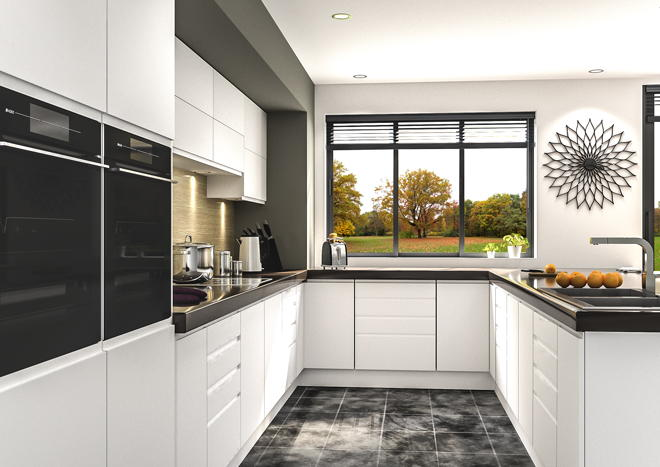Knebworth Satin White Kitchen Doors