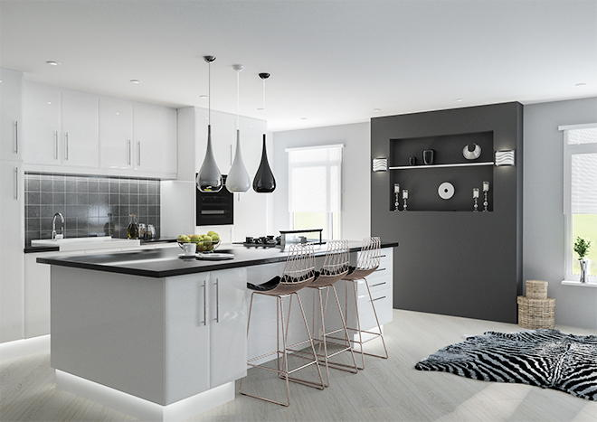Kitchen Cabinets White Gloss Gloss Black Kitchen Cabinets: Lincoln High Gloss White Kitchen Doors