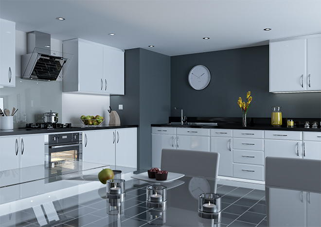 Pisa High Gloss White Kitchen Doors