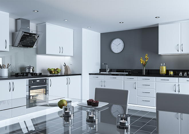 Pisa Satin White Kitchen Doors
