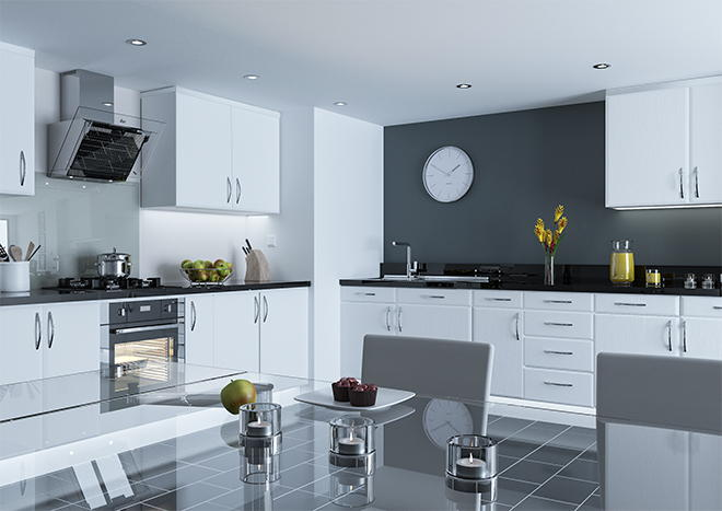 Pisa Super White Ash Kitchen Doors