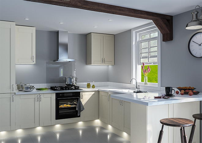 Shaker Matt Cashmere Kitchen Doors, Gray Cashmere Kitchen Cabinets