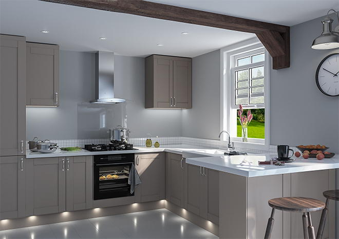 Shaker Matt Stone Grey Kitchen Doors Made To Measure From - Matt grey kitchen doors