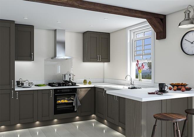 Shaker Opengrain Dark Grey Kitchen Doors | Made to Measure ...