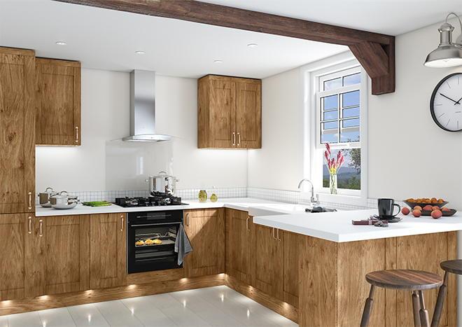 Shaker Pippy Oak Kitchen Doors
