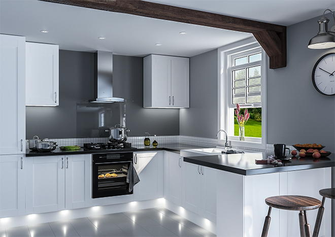 Shaker Porcelain White Kitchen Doors
