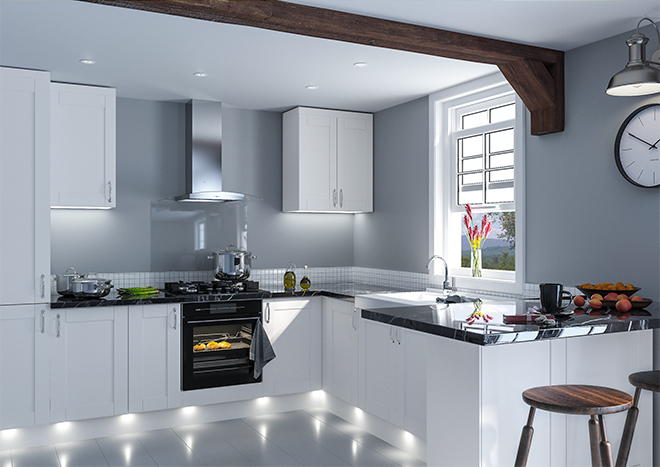 Shaker Satin White Kitchen Doors