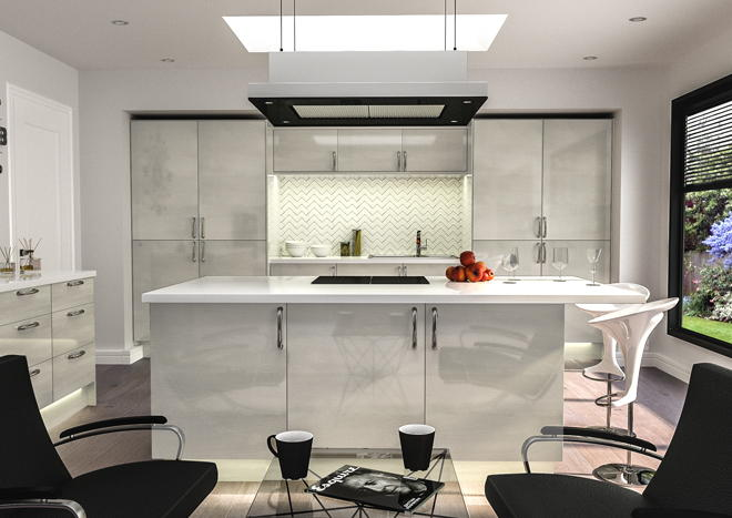 Venice High Gloss Snow Larch Kitchen Doors