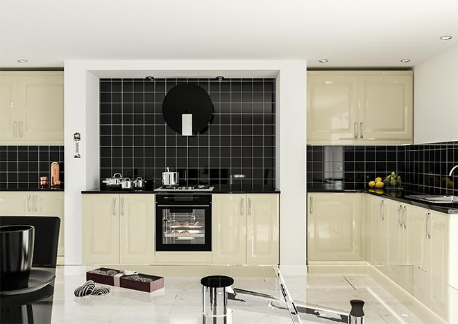 York High Gloss Cream Kitchen Doors