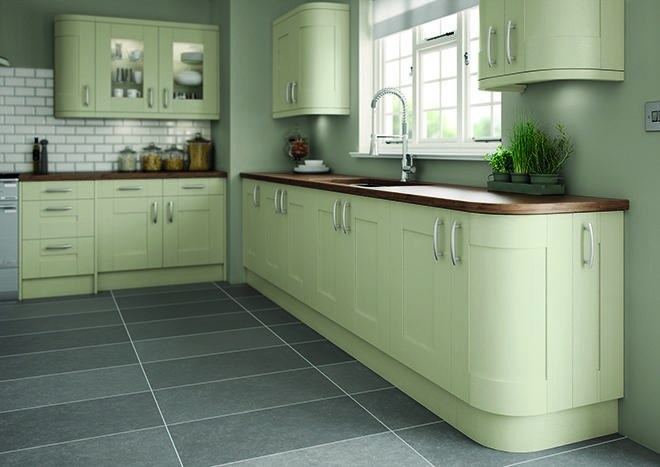 Sage green kitchen doors from for Green kitchen pictures