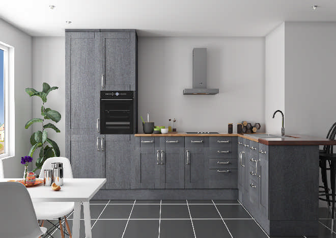 Gresham Dark Concrete Kitchen Doors, Cement Grey Kitchen Cabinets
