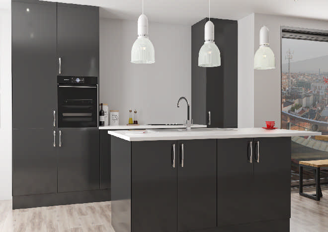 Lumi High Gloss Black Kitchen Doors Made To Measure From Pound 4 58