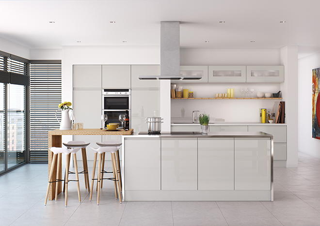 High Gloss Grey Kitchen Doors From
