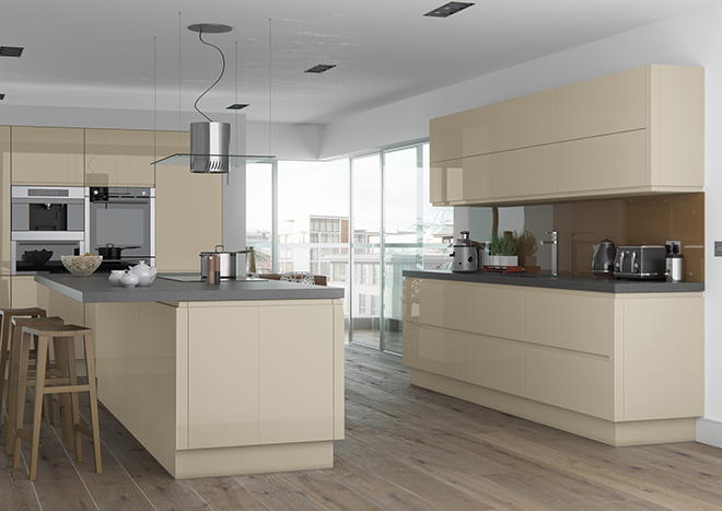 High Gloss Stone Kitchen Doors