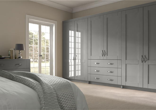 Arlington High Gloss Light Grey Bedroom Doors Made To