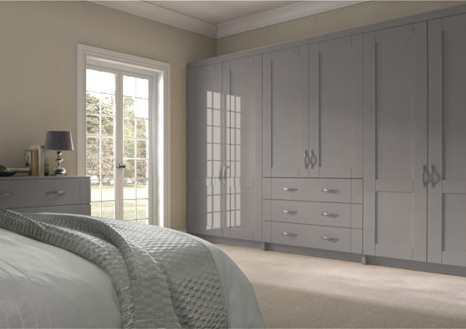 Arlington High Gloss Stone Grey Bedroom Doors
