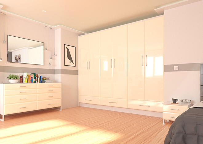 Brighton High Gloss Ivory Bedroom Doors