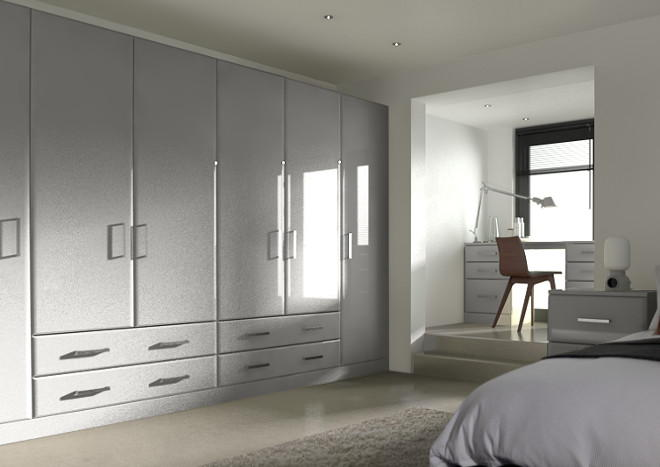 Brighton High Gloss Light Grey Bedroom Doors