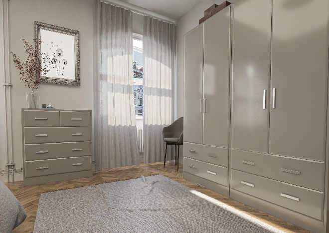 Brighton High Gloss Pebble Grey Bedroom Doors