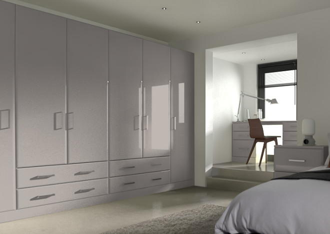 Brighton High Gloss Stone Grey Bedroom Doors