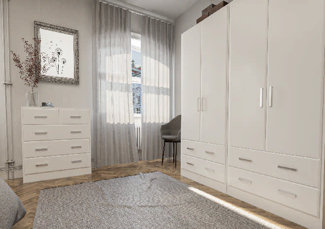 Brighton Porcelain White Bedroom Doors