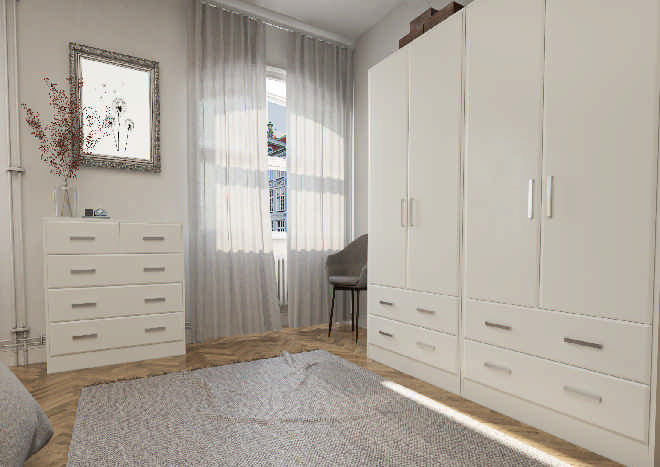 Brighton TrueMatt White Grey Bedroom Doors