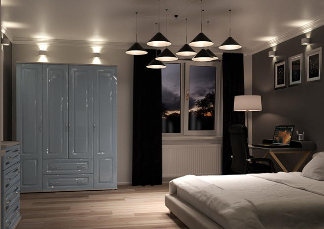 Buxted High Gloss Denim Blue Bedroom Doors