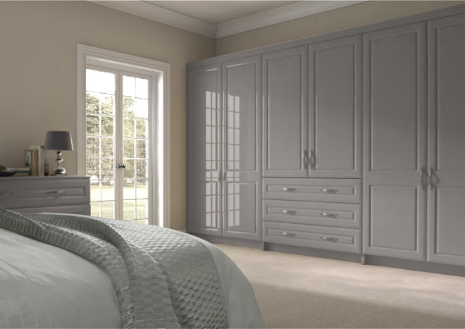 Chichester High Gloss Stone Grey Bedroom Doors