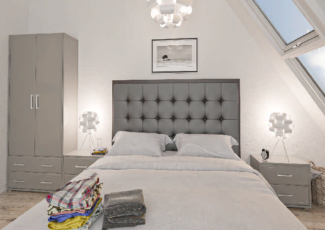 Durrington High Gloss Pebble Grey Bedroom Doors