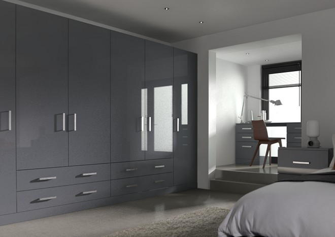 Lewes High Gloss Anthracite Bedroom Doors
