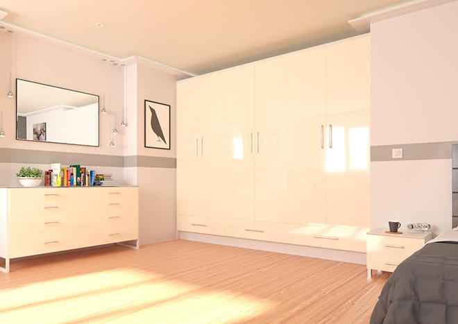 Lewes High Gloss Ivory Bedroom Doors