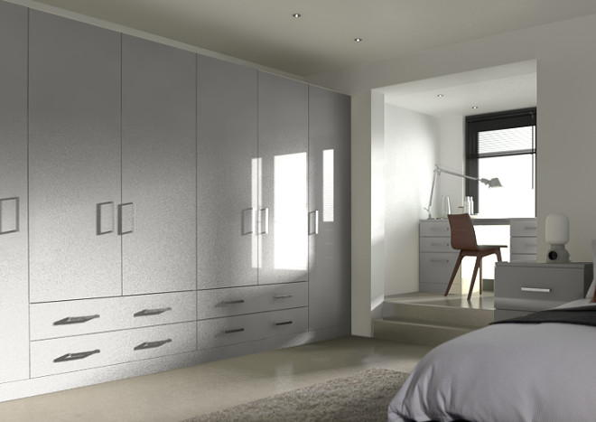 Lewes High Gloss Light Grey Bedroom Doors