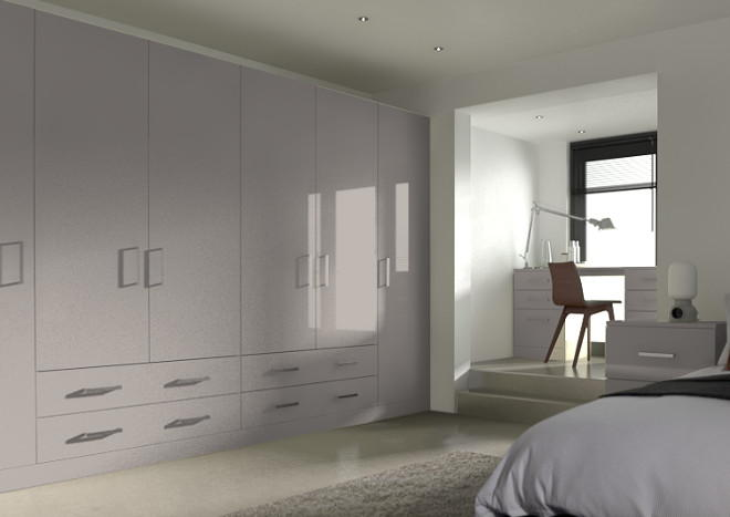 Lewes High Gloss Stone Grey Bedroom Doors