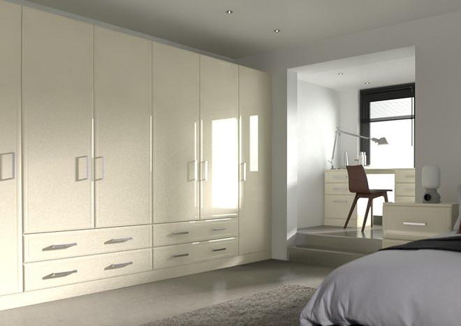 Newick High Gloss Cream Bedroom Doors