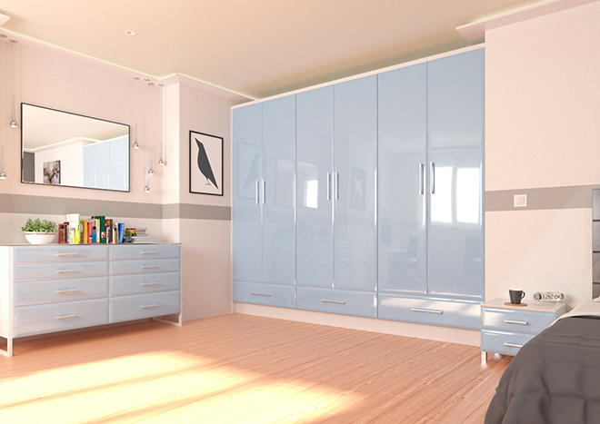 Newick High Gloss Denim Blue Bedroom Doors