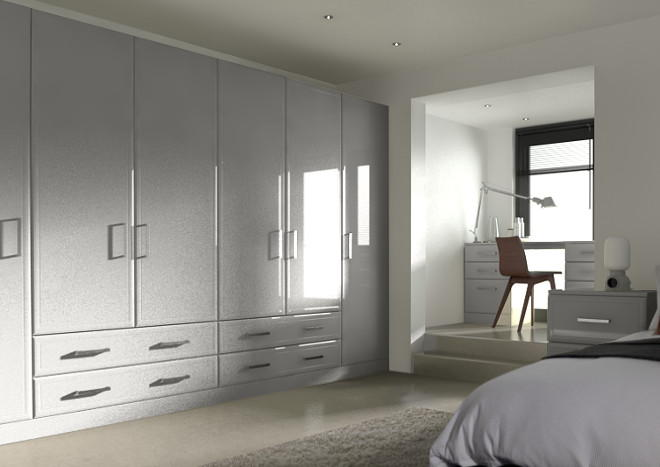Newick High Gloss Light Grey Bedroom Doors