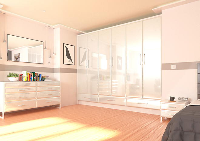 Newick High Gloss Silver Bedroom Doors