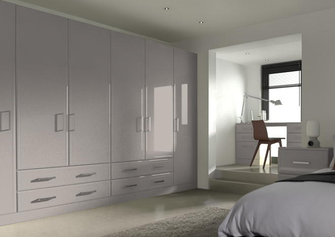 Newick High Gloss Stone Grey Bedroom Doors