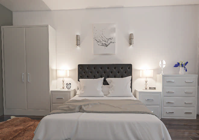 Newick TrueMatt White Grey Bedroom Doors
