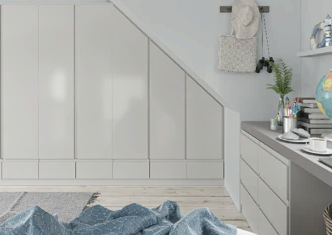 Ringmer High Gloss Light Grey Bedroom Doors