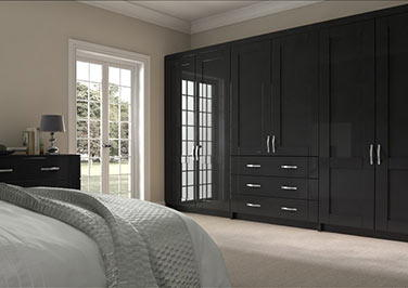 Arlington High Gloss Black Bedroom Doors