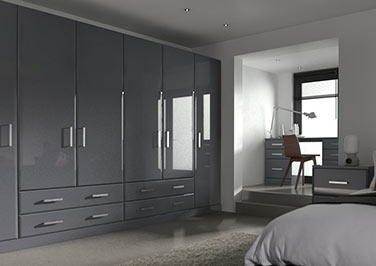 Brighton High Gloss Anthracite Bedroom Doors
