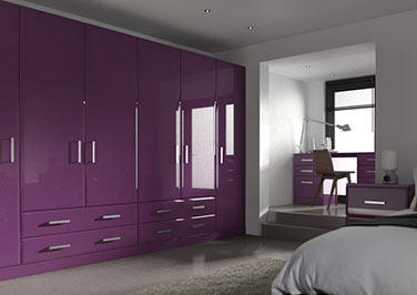 Durrington High Gloss Aubergine Bedroom Doors