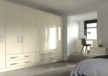 Durrington High Gloss Cream Bedroom Doors