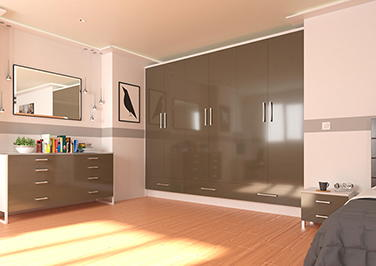 Lewes High Gloss Graphite Bedroom Doors