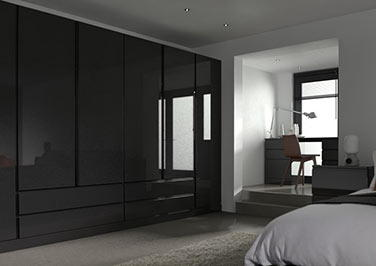 Ringmer High Gloss Black Bedroom Doors