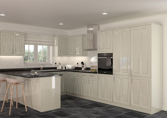 Amberley High Gloss Ivory Kitchen Doors